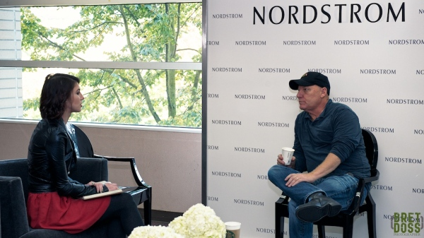 Beauty Editor Alyssa Cave interviewing Steve Madden in the green room at Nordstrom Bellevue Square