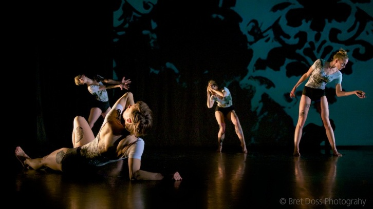 Christin Call, Hannah Crowley, Natascha Greenwalt, & Marissa Quimby in 'when we were young II' choreographed by Zoe Scofield, costumes by Paul D. McKee, image © Bret Doss