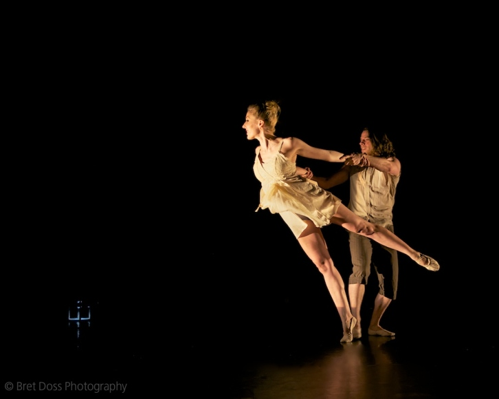 Natascha Greenwalt & Danny Boulet in 'Tethered Apparitions' choreographed by Natascha Greenwalt, costumes by Janelle Abbot, art objects by Christin Call, image © Bret Doss